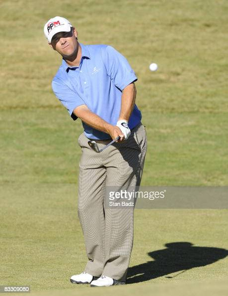 Scott McCarron chips onto the ninth green during the first round of the Justin Timberlake Shriners Hospitals for Children Open held at TPC Summerlin...