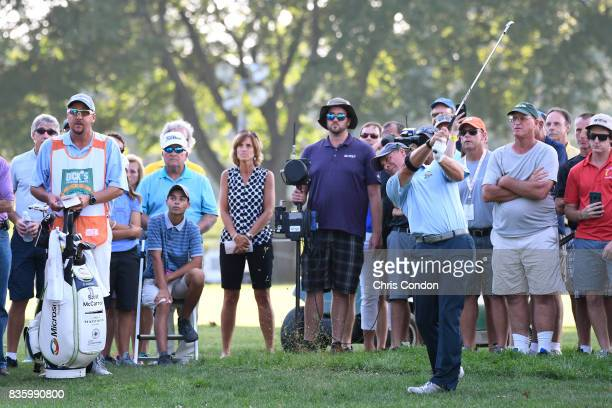Scott McCarron plays from the rough on the 18 hole during the final round of the PGA TOUR Champions DICK'S Sporting Goods Open at EnJoie Golf Course...