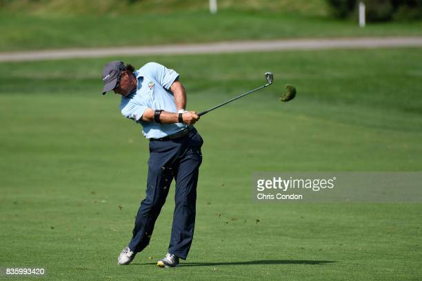 Scott McCarron plays his second shot on the 11th hole during the final round of the PGA TOUR Champions DICK'S Sporting Goods Open at EnJoie Golf...