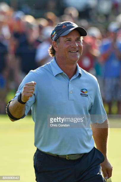 Scott McCarron reacts on 18 after winning the PGA TOUR Champions DICK'S Sporting Goods Open at EnJoie Golf Course on August 20 2017 in Endicott New...