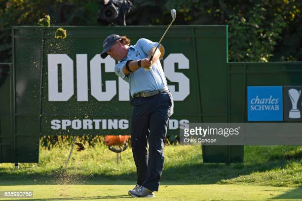 Scott McCarron tees off on the 17th hole during the final round of the PGA TOUR Champions DICK'S Sporting Goods Open at EnJoie Golf Course on August...