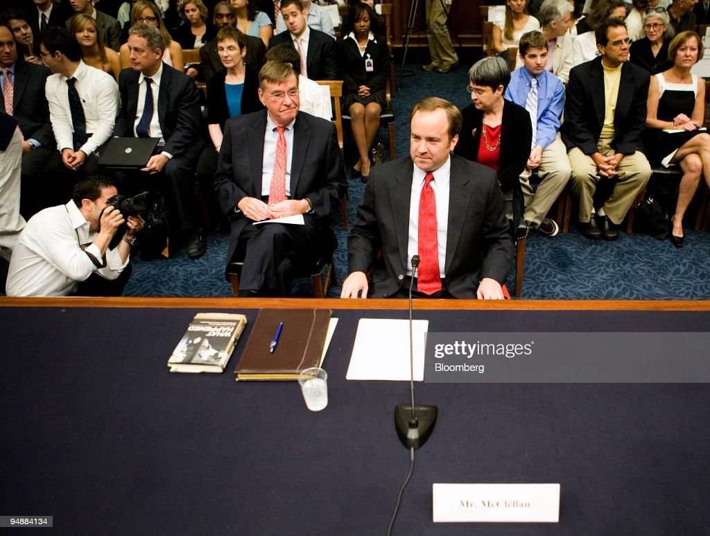 Scott McClellan, former press secretary for U.S. President George W. Bush, right, and his attorney Michael Tigar wait for the start of a House Judiciary Committee hearing in Washington, D.C., U.S., on Friday, June 20, 2008. McClellan told lawmakers he doesn't know whether Vice President Dick Cheney or other government officials committed a crime in connection with the leak of a CIA operative's identity.