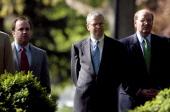 Scott McClellan new White House Chief of Staff Josh Bolton and Joe Hagin listen as President Bush introduces US Trade Representative Rob Portman as...
