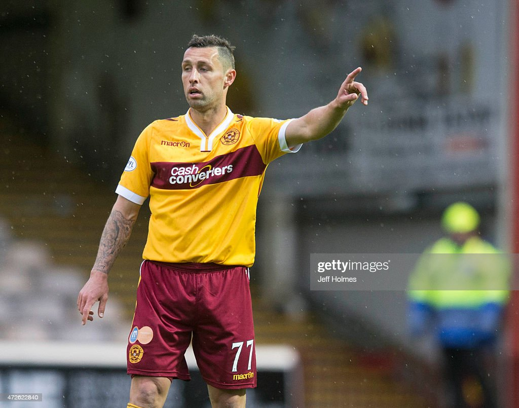 Scott Mcdonald gets his point across for Motherwell in action during the Scottish premiership match between Motherwell and Kilmarnock at Fir Park on...