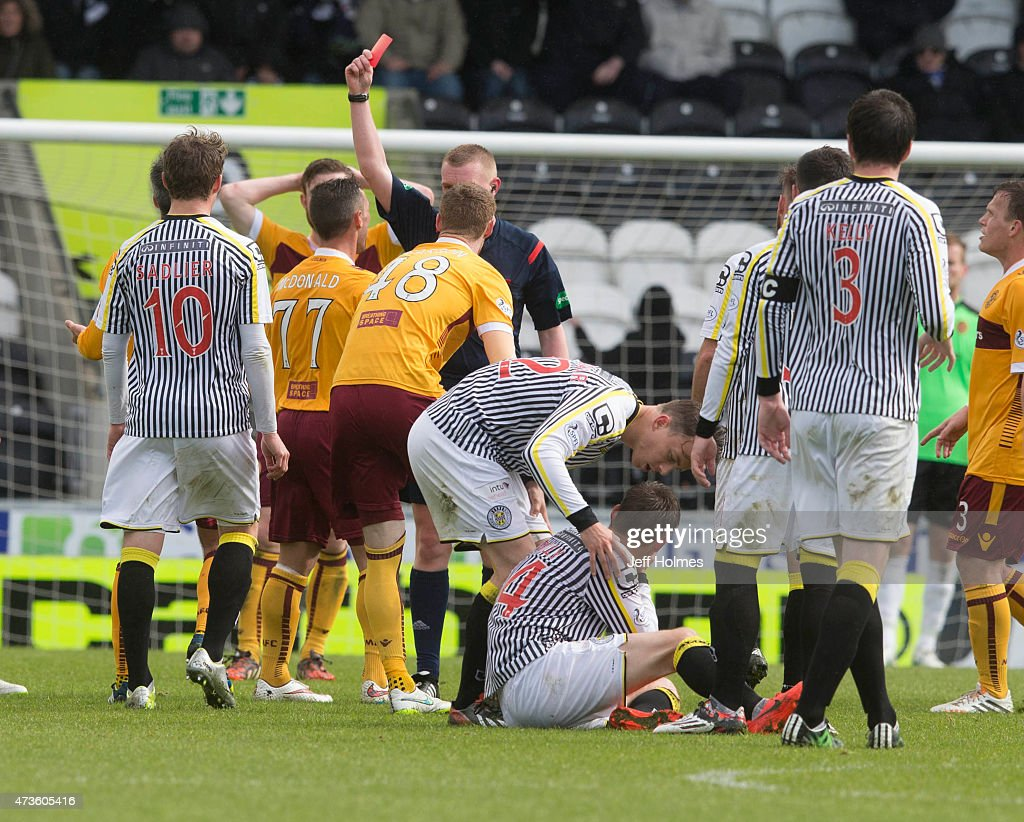 Scott Mcdonald Motherwell is sent off during the Scottish premiership match between St Mirren and Motherwell at St Mirren Park on May 16 2015 in...