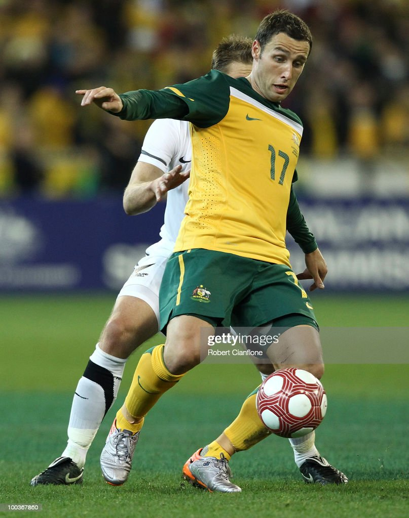 Scott McDonald of Australia controls the ball during the 2010 FIFA World Cup PreTournament match between the Australian Socceroos and the New Zealand...
