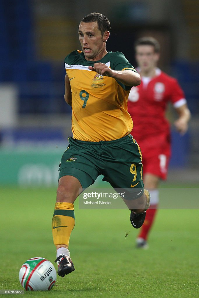 Scott McDonald of Australia during the International Friendly match between Wales and Australia at the Cardiff City Stadium on August 10 2011 in...