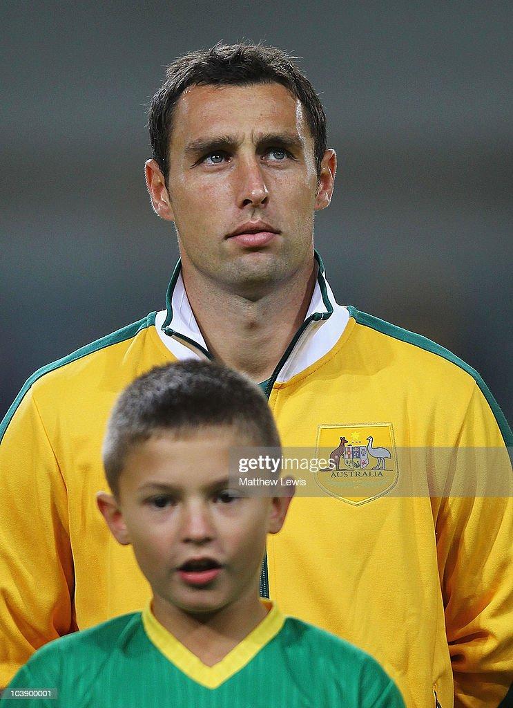 Scott McDonald of Australia looks on ahead of the International Friendly match between Poland and Australia at the Wisla Krakow Stadium on September...