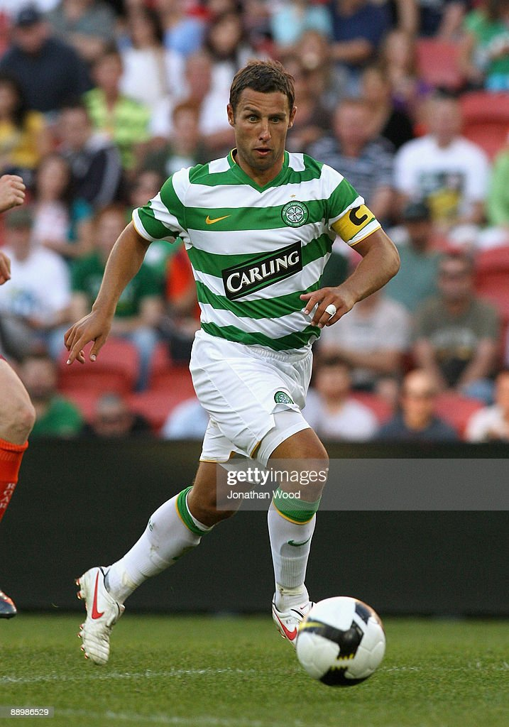 Scott McDonald of Celtic controls the ball during the preseason friendly match between the Brisbane Roar and Celtic FC at Suncorp Stadium on July 12...