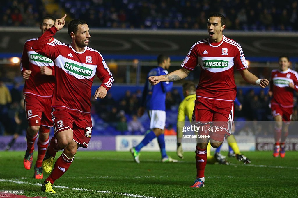 Scott McDonald of Middlesbrough celebrates scoring his sides second goal with Seb Hines during the npower Championship match between Birmingham City...
