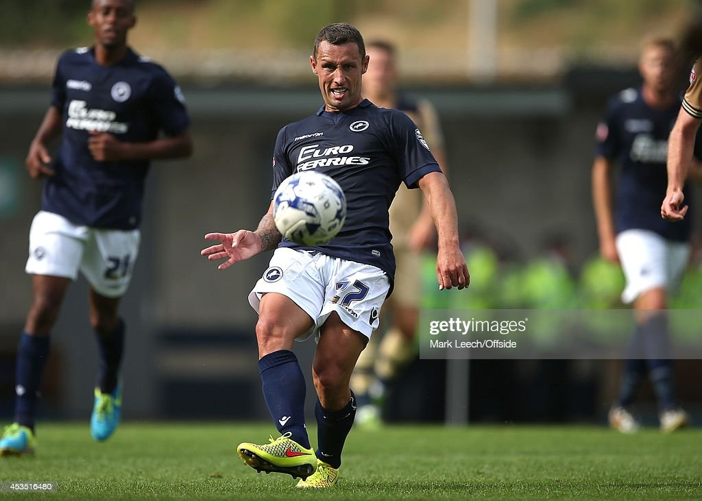 Scott McDonald of Millwall in action during the Sky Bet Championship match between Millwall and Leeds United at The Den on August 9 2014 in London...