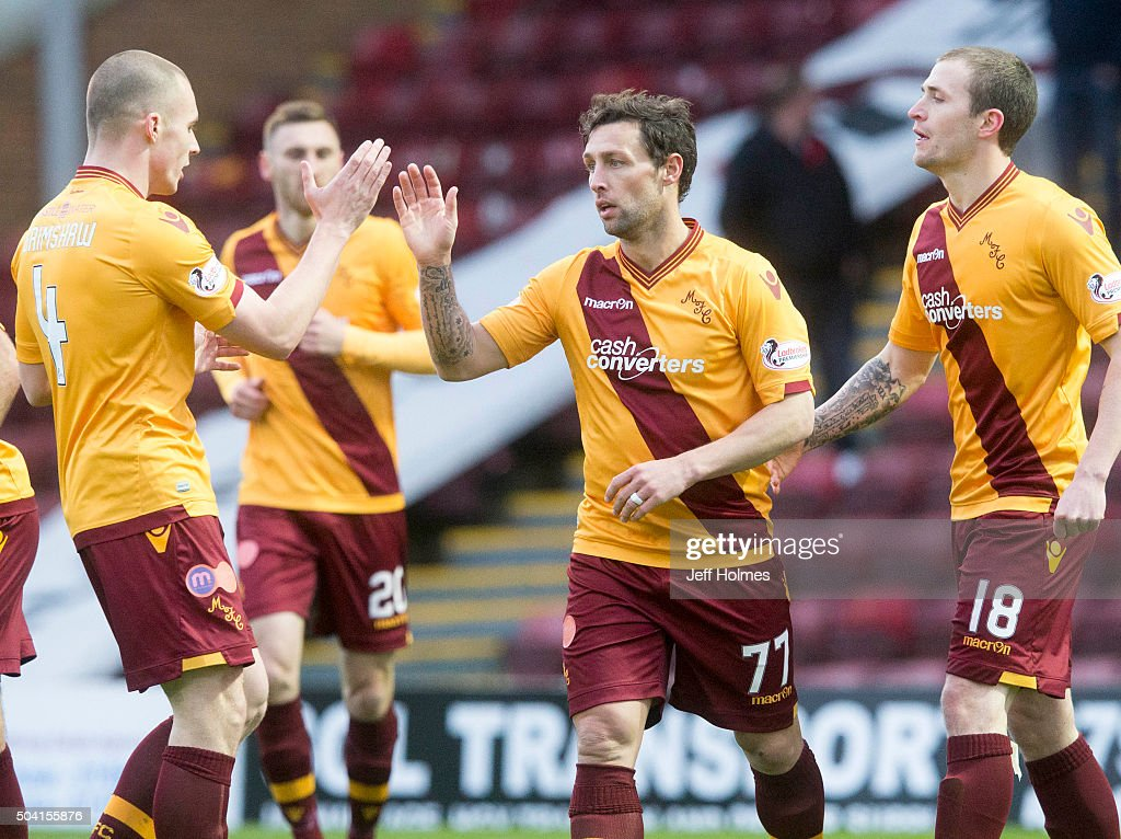 Scott McDonald of Motherwell celebrates scoring his goal and Motherwells second during the William Hill Scottish Cup Fourth Round between Motherwell...