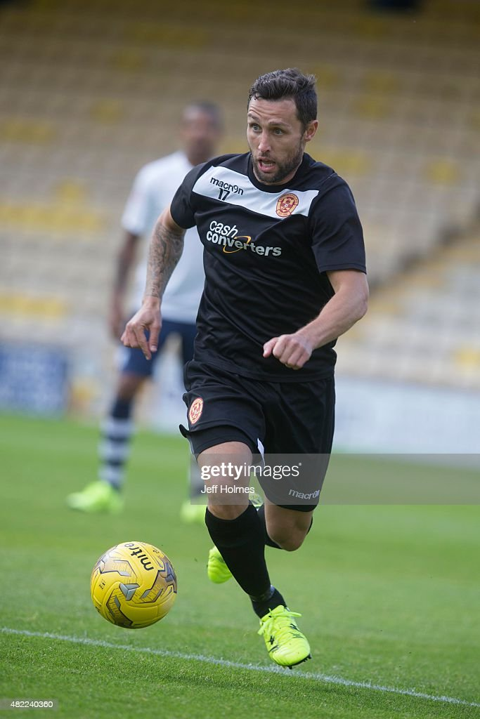 Scott McDonald of Motherwell in action and debut at the Pre Season Friendly between Motherwell and Preston North End at the City Stadium on July 24th...