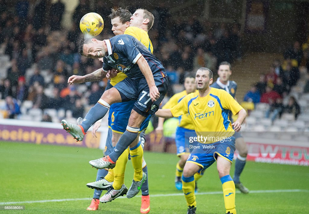 Scott McDonald of Motherwell misses a fine chance to score during the BETFRED Cup First Round Group F Match between Motherwell and East Stirlingshire...