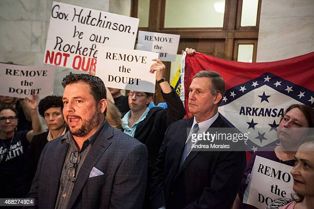 Scott McGehee a local businessman speaks at press conference after Gov Asa Hutchinson's comments on the House Bill 1228 a bill passed which prohibits...