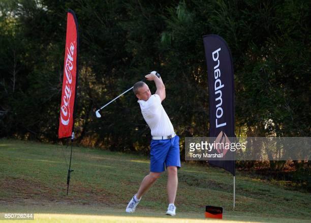 Scott McGovern of Normanton Golf Club plays his first shot on the 1st tee during The Lombard Trophy Final Day One on September 21 2017 in Albufeira...