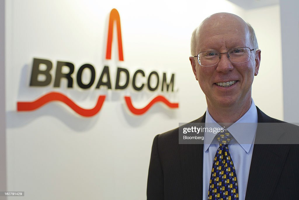 Scott McGregor, chief executive officer of Broadcom Corp., poses for a photograph at the Mobile World Congress in Barcelona, Spain, on Wednesday, Feb. 27, 2013. The Mobile World Congress, where 1,500 exhibitors converge to discuss the future of wireless communication, is a global showcase for the mobile technology industry and runs from Feb. 25 through Feb. 28. Photographer: Angel Navarrete/Bloomberg via Getty Images