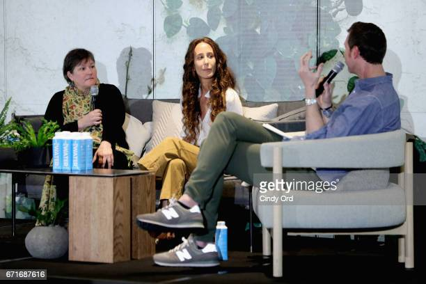 Scott McKinlay Hahn Mara Hoffman and Deb Johnson speak during a panel discussion led by Jason Wachob at 1 Hotel Brooklyn Bridge on April 22 2017 in...