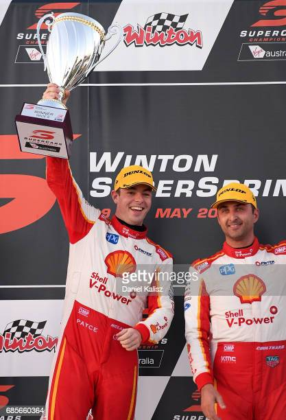 Scott McLaughlin driver of the Shell VPower Racing Team Ford Falcon FGX celebrates after winning race 9 for the Winton SuperSprint which is part of...