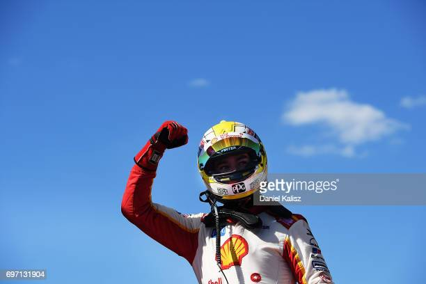Scott McLaughlin driver of the Shell VPower Racing Team Ford Falcon FGX celebrates after winning race 12 during the Darwin Triple Crown which is part...