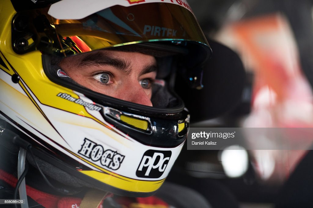 Scott McLaughlin driver of the #17 Shell V-Power Racing Team Ford Falcon FGX looks on during practice ahead of this weekend's Bathurst 1000, which is part of the Supercars Championship at Mount Panorama on October 6, 2017 in Bathurst, Australia.