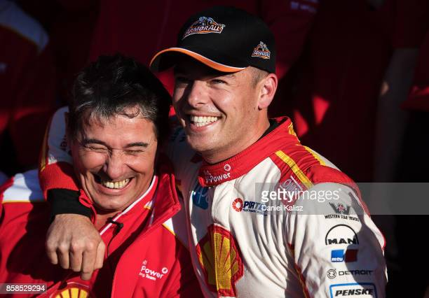 Scott McLaughlin driver of the Shell VPower Racing Team Ford Falcon FGX celebrates with Ludo Lacroix engineering director at Shell VPower Racing Team...