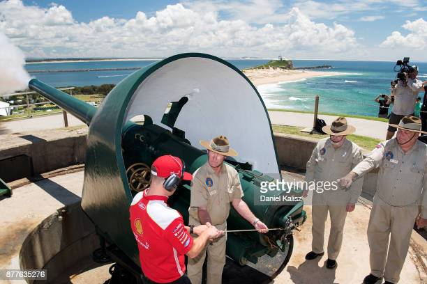 Scott McLaughlin driver of the Shell VPower Racing Team Ford Falcon FGX fires a cannon at Fort Scratchley ahead of the Newcastle 500 which is part of...