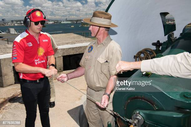 Scott McLaughlin driver of the Shell VPower Racing Team Ford Falcon FGX practices firing a cannon at Fort Scratchley ahead of the Newcastle 500 which...