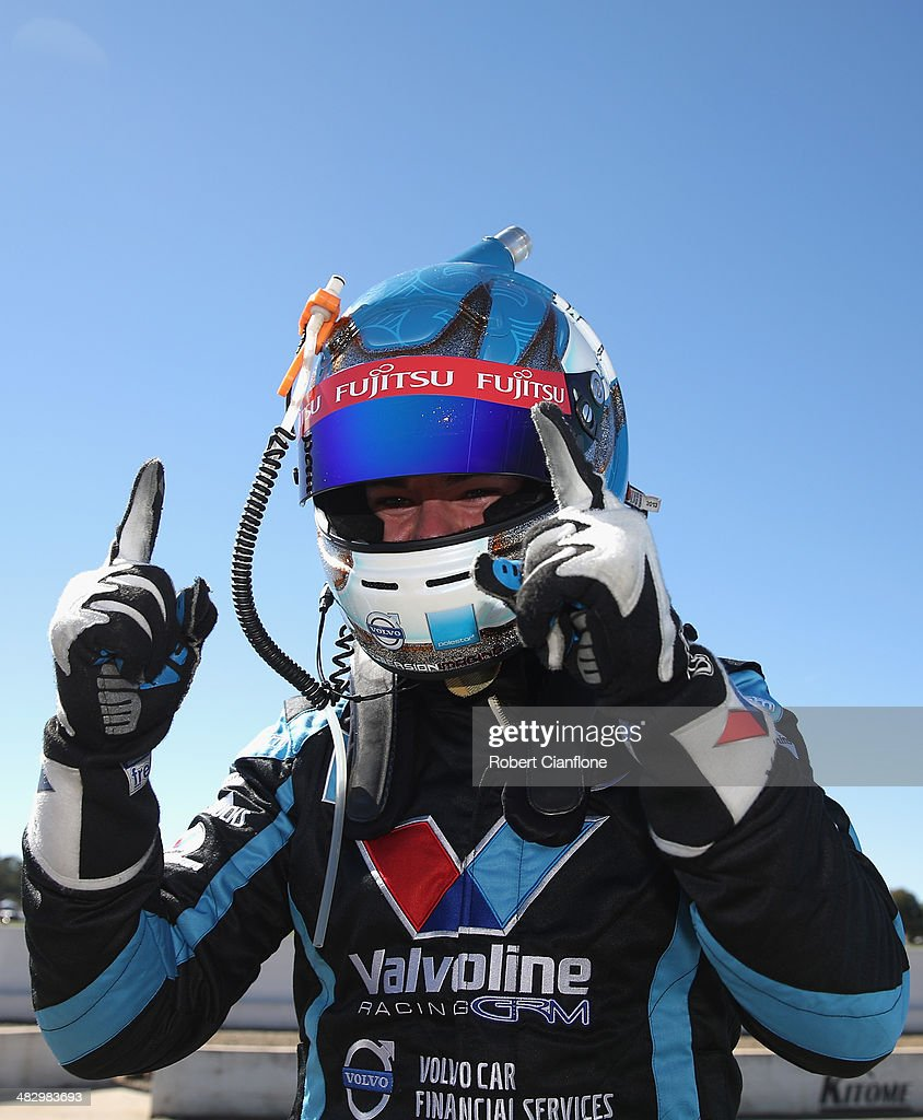 Scott McLaughlin driver of the Valvoline Racing GRM Volvo celebrates after taking pole position for race 9 of the Winton 400 which is round three of...