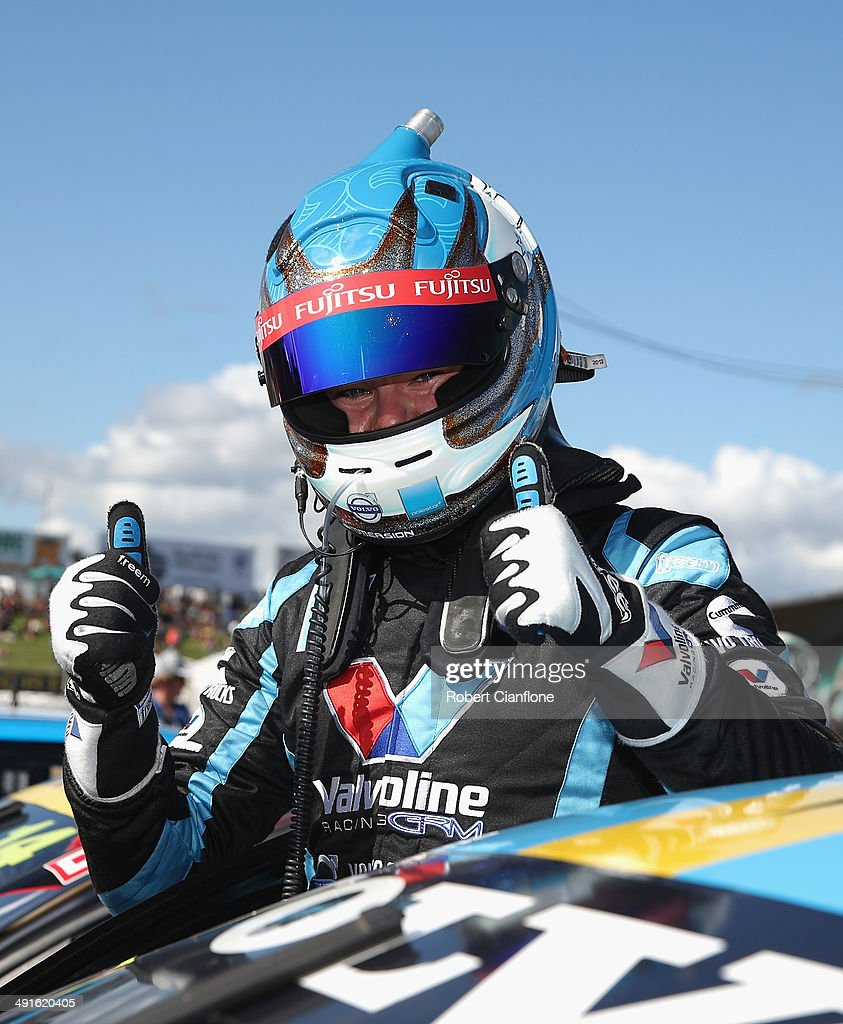 Scott McLaughlin driver of the Valvoline Racing GRM Volvo celebrates after winning race 14 at the Perth 400 which is round five of the V8 Super...