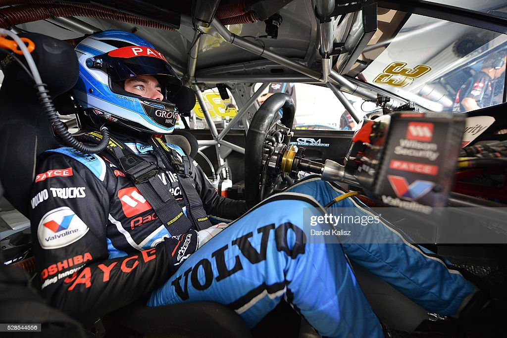 Scott McLaughlin driver of the Wilson Security Racing GRM Volvo S60 during practice for the V8 Supercars Perth SuperSprint at Barbagallo Raceway on...