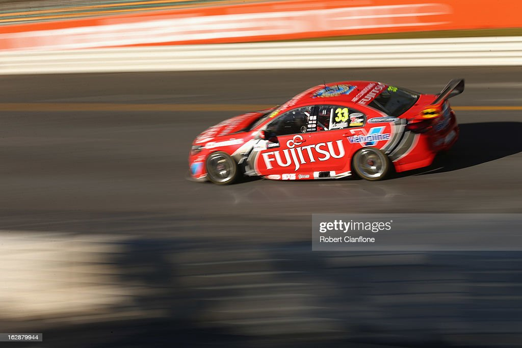 Scott McLaughlin drives the #33 Fujitsu Racing GRM Holden during practice for the Clipsal 500, which is round one of the V8 Supercar Championship Series, at the Adelaide Street Circuit on March 1, 2013 in Adelaide, Australia.