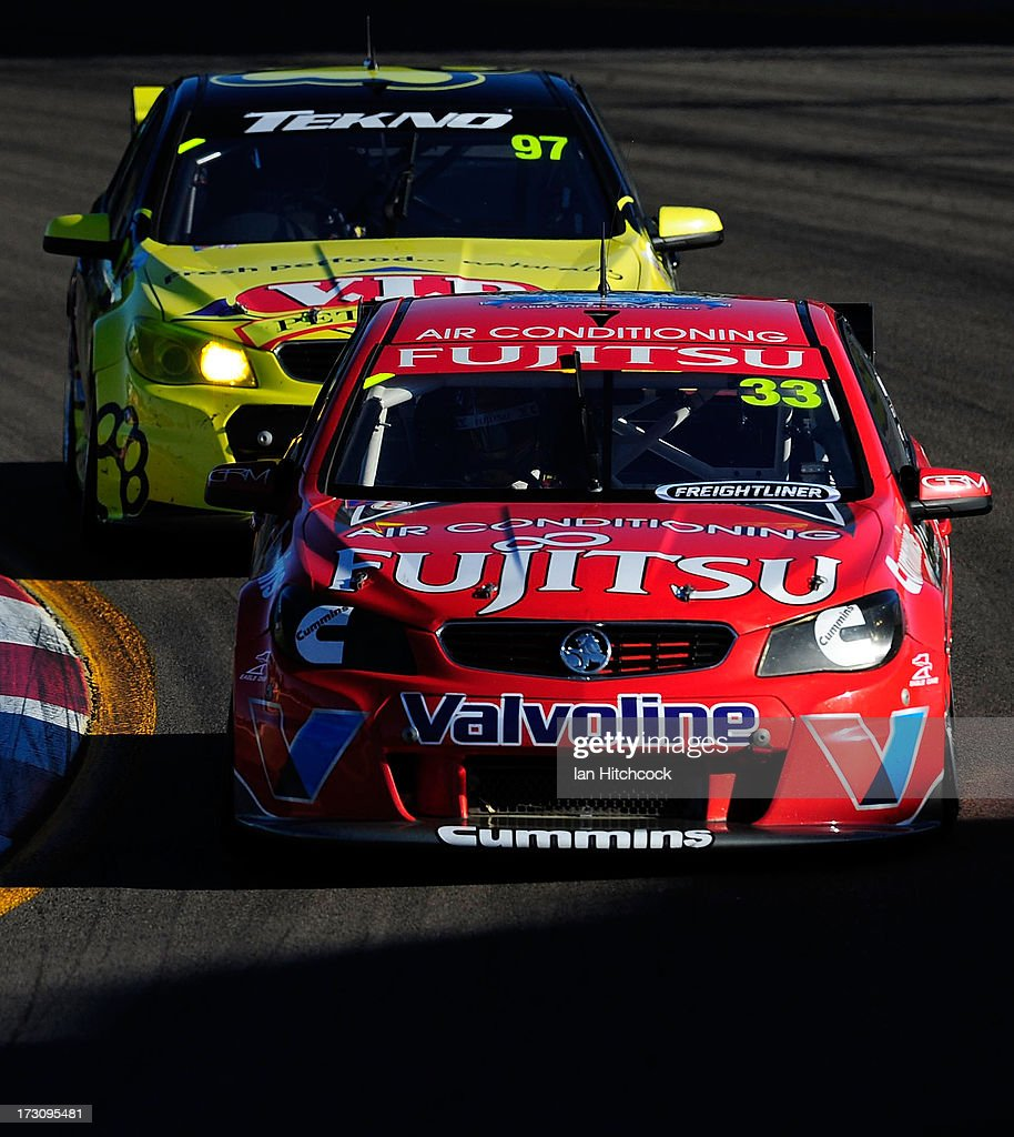 Scott McLaughlin drives the #33 Fujitsu Racing GRM Holden during race 21 of the Townsville 400, which is round seven of the V8 Supercar Championship Series at Reid Park on July 7, 2013 in Townsville, Australia.