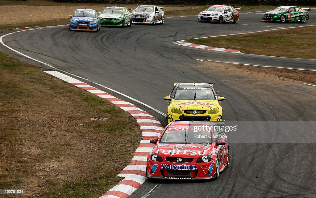 Scott McLaughlin drives the #33 Fujitsu Racing GRM Holden during race three for round two of the V8 Supercar Championship Series at Symmons Plains Raceway on April 6, 2013 in Launceston, Australia.