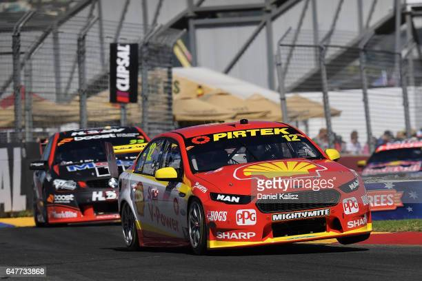 Scott McLaughlin drives the Shell VPower Racing Team Ford Falcon FGX during race 1 for the Clipsal 500 which is part of the Supercars Championship at...