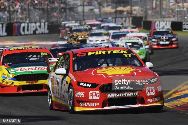 Scott McLaughlin drives the Shell VPower Racing Team Ford Falcon FGX during race 2 for the Clipsal 500 which is part of the Supercars Championship at...