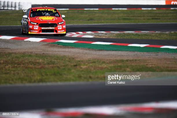 Scott McLaughlin drives the Shell VPower Racing Team Ford Falcon FGX during the Winton SuperSprint which is part of the Supercars Championship at...