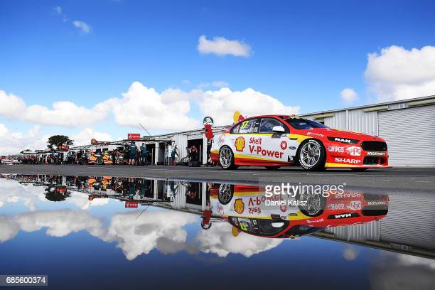 Scott McLaughlin drives the Shell VPower Racing Team Ford Falcon FGX during qualifying for race 9 for the Winton SuperSprint which is part of the...