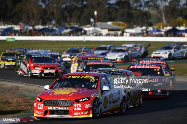 Scott McLaughlin drives the Shell VPower Racing Team Ford Falcon FGX leads the field at the start of race 9 for the Winton SuperSprint which is part...