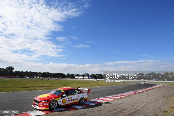 Scott McLaughlin drives the Shell VPower Racing Team Ford Falcon FGX during qualifying for race 10 for the Winton SuperSprint which is part of the...