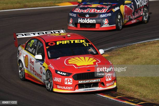 Scott McLaughlin drives the Shell VPower Racing Team Ford Falcon FGX during race 11 for the Darwin Triple Crown which is part of the Supercars...