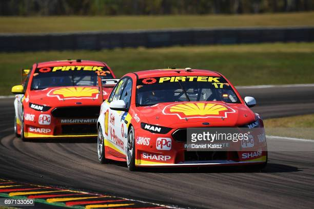 Scott McLaughlin drives the Shell VPower Racing Team Ford Falcon FGX leads Fabian Coulthard drives the Shell VPower Racing Team Ford Falcon FGX...