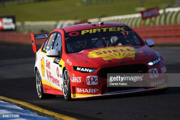 Scott McLaughlin drives the Shell VPower Racing Team Ford Falcon FGX during the Sandown 500 which is part of the Supercars Championship at Sandown...