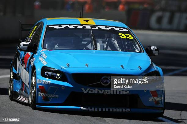 Scott McLaughlin drives the Valvoline Racing GRM Volvo during practice for the Clipsal 500 which is round one of the V8 Supercar Championship Series...