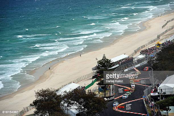 Scott McLaughlin drives the Wilson Security Racing GRM Volvo S60 during race 22 of the Supercars Gold Coast 600 at Surfers Paradise Street Circuit on...