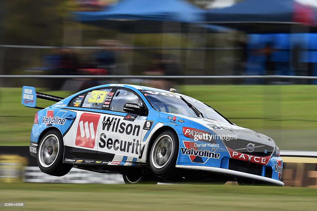 Scott McLaughlin drives the Wilson Security Racing GRM Volvo S60 during practice for the V8 Supercars Perth SuperSprint at Barbagallo Raceway on May...