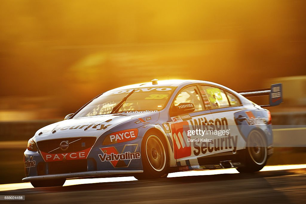 Scott McLaughlin drives the Wilson Security Racing GRM Volvo S60 during practice ahead of the Winton round of V8 SUpercars at Winton Motor Raceway on...