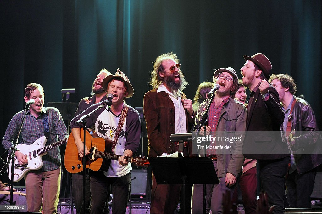 Scott McMicken, Eric D. Johnson, and Andy Cabic perform the Finale during The Last Waltz Tribute Concert at The Warfield on November 24, 2012 in San Francisco, California.