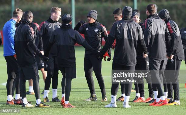 Scott McTominay and Anthony Martial of Manchester United in action during a training session at Aon Training Complex on October 30 2017 in Manchester...