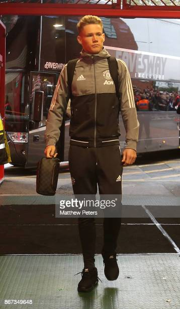 Scott McTominay of Manchester United arrives ahead of the Premier League match between Manchester United and Tottenham Hotspur at Old Trafford on...